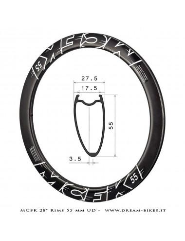 """MCFK Carbon Disc Rim 28"""" 700c 55 mm UD 460 gr."""
