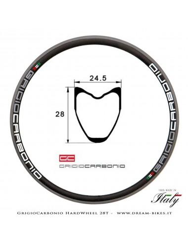 GrigioCarbonio HardWheel 28T Cerchio Carbon T1000 28 mm x 24.5 mm Tubolare 235 gr.