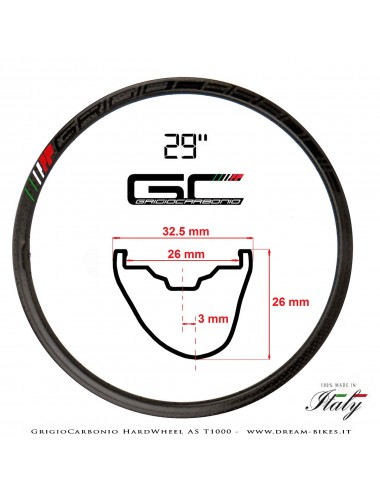 """GrigioCarbonio HardWheel AS T1000 Carbon 29"""" Asymmetrical Clincher Rim 275 gr. MY2019"""