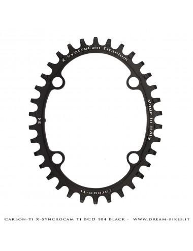 Carbon-Ti X-SyncroCam Ti BCD 104 mm Asymmetric Titanium Black Monoring 34T