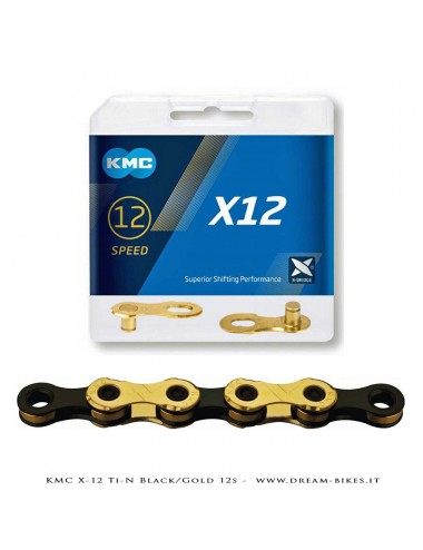 KMC X-12 Ti-N GOLD/BLACK 12S CHAIN 268 Gr.